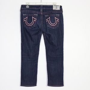 True Religion Embroidered Pink Capri Crop Jeans 29